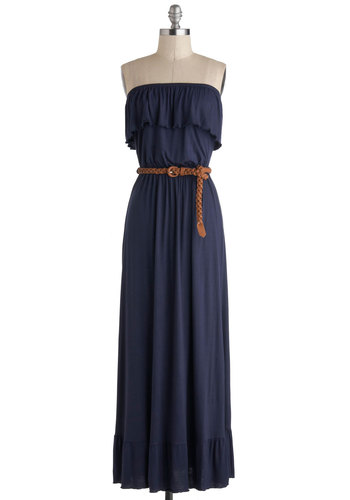 Southern Rock Dress - Long, Blue, Solid, Ruffles, Belted, Casual, Maxi, Strapless, Boho, Vintage Inspired, 70s
