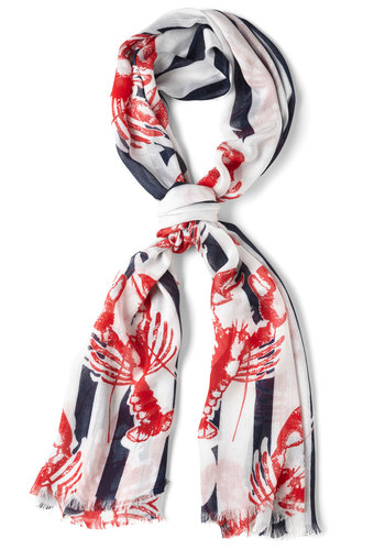 Grand Central Crustacean Scarf in Lobster - Red, Blue, White, Stripes, Print with Animals, Nautical, Cotton
