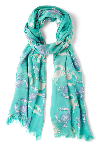 Grand Central Crustacean Scarf in Crab - Mint, Blue, Tan / Cream, Print with Animals, Cotton, Variation