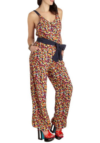 Everybody Jumpsuit Romper by Tulle Clothing - Multi, Orange, Yellow, Blue, White, Casual, Tank top (2 thick straps), Long, Print, Belted, Vintage Inspired, Neon, V Neck