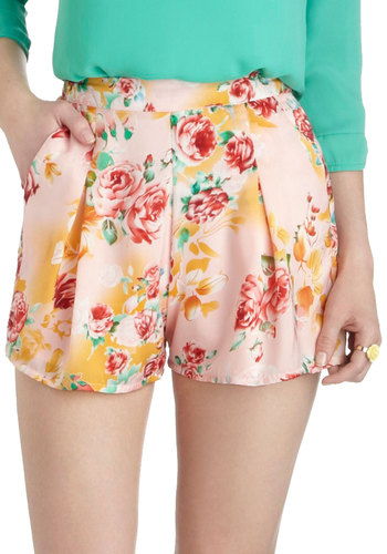 On the Open Rose Shorts - Pink, Yellow, Green, Floral, Pleats, Daytime Party, Vintage Inspired, Short, Pockets, Beach/Resort, High Waist, Summer
