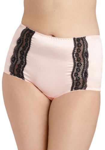 Truly Pampered Undies in Pink - Pink, Black, Solid, Lace, Vintage Inspired, 50s, Sheer, Satin, Pinup, 40s, Pastel, Colorblocking, High Waist, Boudoir