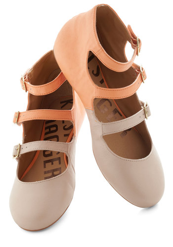 Plie Date Flat by Kelsi Dagger - Solid, Buckles, Colorblocking, Flat, Leather, Orange, Tan / Cream, Spring