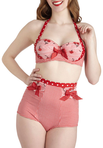 Cutie Pie Picnic Two Piece by Lucy B. - Red, White, Polka Dots, Checkered / Gingham, Novelty Print, Bows, Beach/Resort, Rockabilly, Pinup, Vintage Inspired, 40s, 50s, Fruits, High Waist, Halter, Summer, Trim