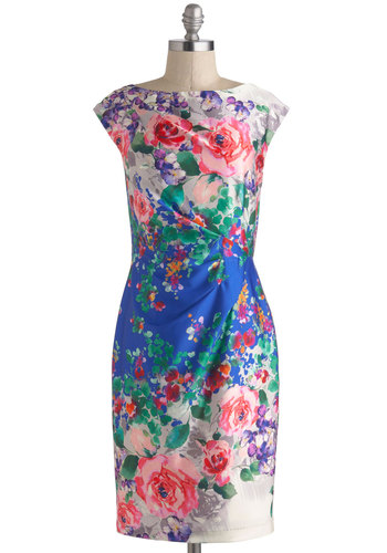 Floral Reflections Dress - Blue, Floral, Vintage Inspired, Spring, Multi, Green, Pink, Daytime Party, Sheath / Shift, Cap Sleeves, Mid-length, Wedding, Graduation