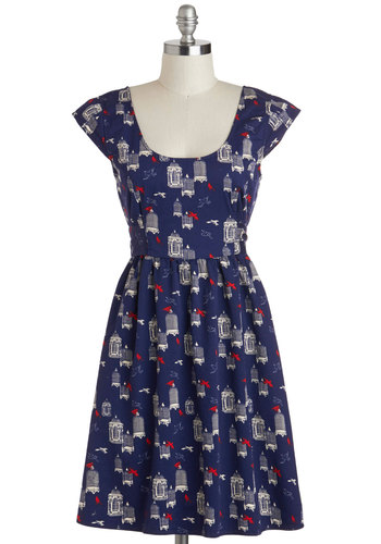 Aviary Little Thing Dress by Tulle Clothing - Blue, Red, White, Novelty Print, Pockets, Casual, A-line, Cap Sleeves, Scoop, Print with Animals, Vintage Inspired, Cotton, Mid-length