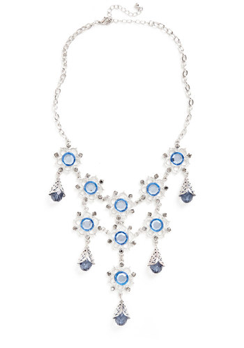 Floral Oasis Necklace - Blue, Silver, Solid, Cutout, Flower, Rhinestones, Tiered, Statement, Beads, Luxe, 60s, Bridesmaid
