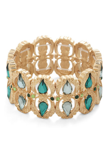 Grand Ballroom Bracelet - Green, Gold, Solid, Cutout, Rhinestones, Statement