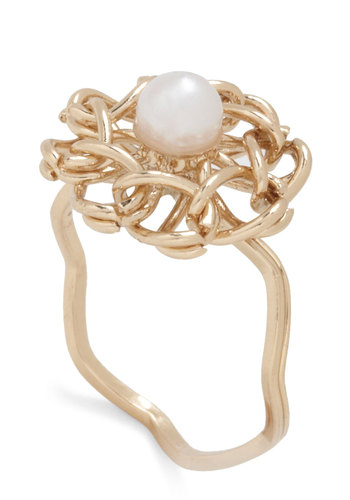 Flower Patch Pretty Ring - Gold, White, Solid, Flower, Pearls, Woven, Floral, Gold