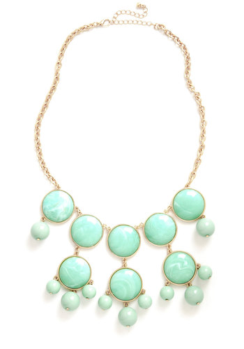 Mint Swirl Necklace - Mint, Gold, Solid, Beads, Tiered, Statement, Pastel, Party, Bridesmaid
