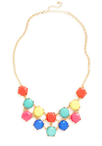Tropical Flavor Necklace - Multi, Gold, Solid, Beads, Tiered, Statement, Summer