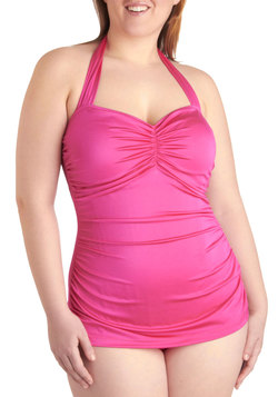 Bathing Beauty One Piece in Magenta - Plus Size