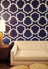 Oak Park Temporary Wallpaper in Blue - Variation, Blue, Dorm Decor, White, Print, Mid-Century, Best