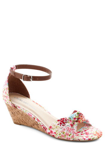 Step Into the Sunlight Wedge in Floral - Multi, Floral, Daytime Party, Wedge, Variation, Red, Orange, Blue, Pink, White, Mid, Summer