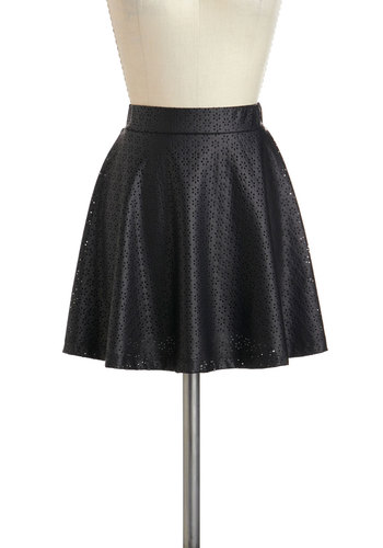 Flower Chord Skirt - Black, Solid, Eyelet, Party, A-line, Short, Winter