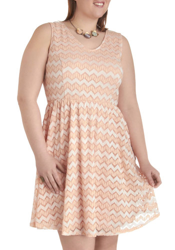Take the Long Way Dress in Peach - Plus Size - Cream, Tan / Cream, White, Chevron, Casual, A-line, Tank top (2 thick straps), Scoop, Daytime Party, Pastel, Lace, Summer, Exclusives