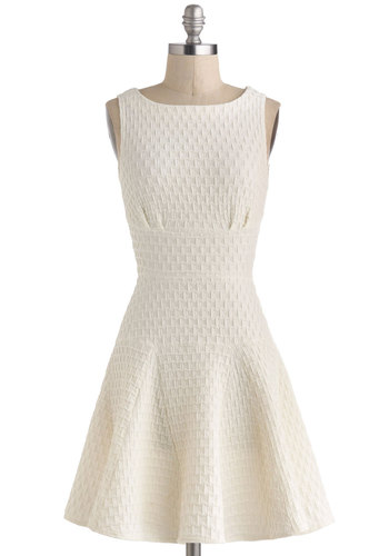 The Perfect Thatch Dress in Cream - White, Solid, Exposed zipper, Daytime Party, Fit & Flare, Sleeveless, Boat, Graduation, Mid-length