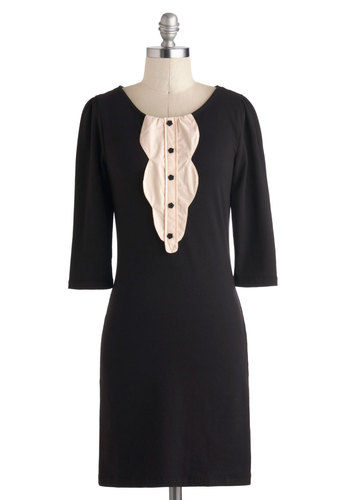 Grand Piano Lesson Dress - Mid-length, Black, Tan / Cream, Buttons, Work, Shift, 3/4 Sleeve, Scoop, Party