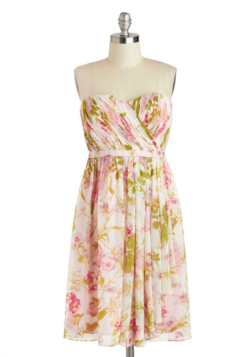 Floral Fair Dress - Multi, Floral, Ruching, A-line, Strapless, Spring, Long, Pink, Daytime Party, Sweetheart, Wedding, Bridesmaid, Graduation, Summer
