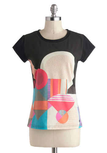 It's Geometric! Tee by Skunkfunk - Mid-length, Black, Red, Blue, White, Casual, Short Sleeves, Eco-Friendly, Travel