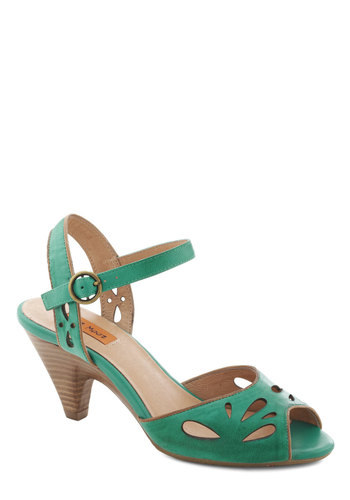 Moss Definitely Heel by Miz Mooz - Green, Solid, Cutout, Mid, Peep Toe, Daytime Party, Vintage Inspired, Leather