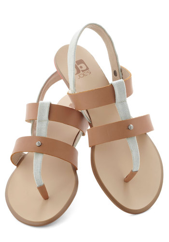 Plaza Parade Sandal by Joe's Jeans Footwear - Flat, Tan, White, Solid, Casual, Boho, Summer
