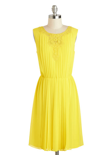 Veer Bright Dress - Mid-length, Yellow, Solid, Pleats, A-line, Sleeveless, Spring, Daytime Party, Crochet, Scoop, Summer