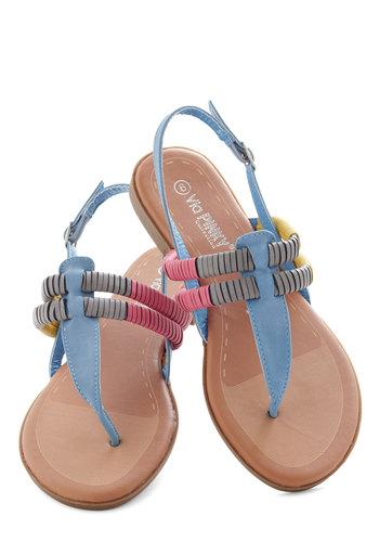 Wrap-puccino Sandal - Blue, Yellow, Grey, Boho, Summer, Flat, Pink, Casual, Beach/Resort