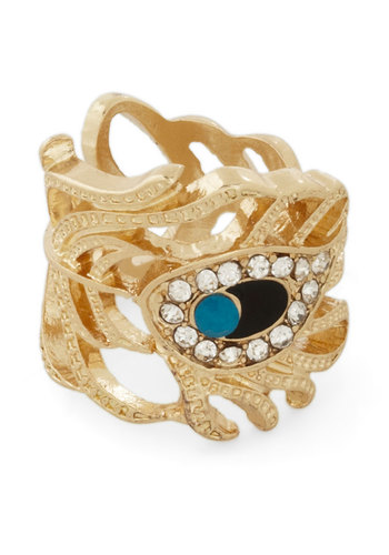 Indulgent Details Ring - Solid, Cutout, Rhinestones, Gold, Blue, Blue, Party