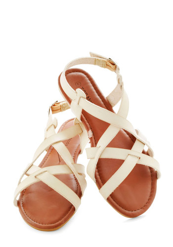 Fell for Sanibel Sandal - Tan, Solid, Summer, Flat, Beach/Resort, Casual, Faux Leather, Strappy