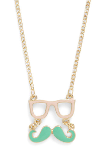 Wise Disguise Necklace - Gold, Solid, Pastel, Quirky, Pink, Mint, Casual