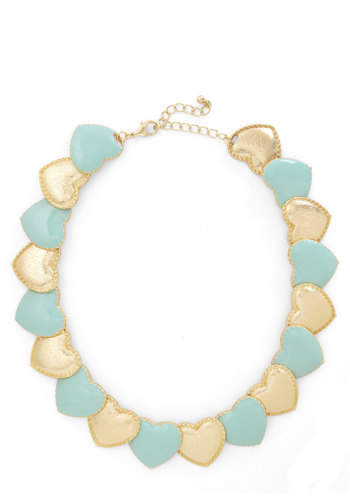 Whole Heart Necklace - Mint, Gold, Solid, Pastel, Party, Bridesmaid
