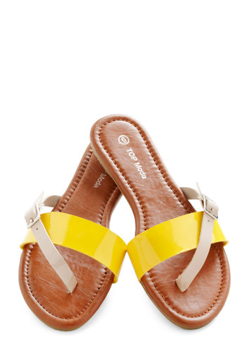 Streaked Sky Sandal in Sunshine - Yellow, Tan / Cream, Buckles, Casual, Colorblocking, Flat, Variation, Solid, Beach/Resort, Boho, Faux Leather, Summer