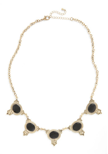 Essential Cinquain Necklace - Black, Gold, Solid, Beads, Luxe, Special Occasion, Party