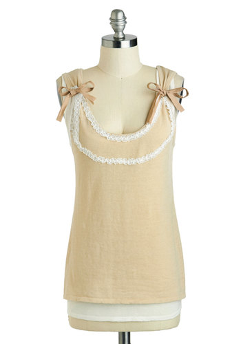 Tips of the Trade Top - Mid-length, Tan, Solid, Bows, Lace, Trim, Casual, Sleeveless, Scoop