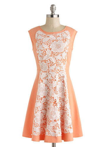 Weekend Brunch Dress - Mid-length, Orange, White, Lace, Daytime Party, Pastel, A-line, Cap Sleeves, Spring