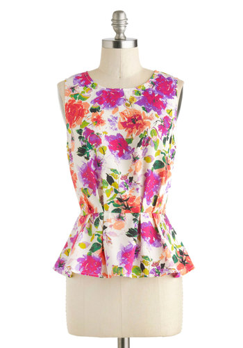 Office in the Sun Top - Sheer, Mid-length, Multi, Green, Purple, Pink, White, Floral, Peplum, Sleeveless, Work, Daytime Party, Summer