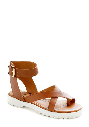Exclamation Arcs Sandal - Tan, White, Solid, Leather, Beach/Resort, Summer, Travel