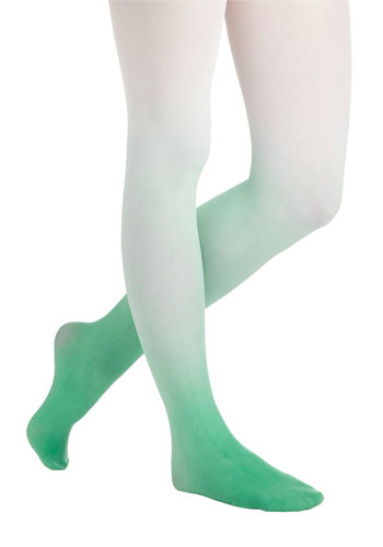 My Way or the Ombre Tights in Green - Green, White, Ombre, Sheer, Variation