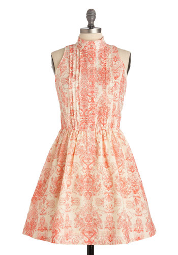 A Little Bit Indie Rock Dress - Paisley, Pleats, Casual, A-line, Sleeveless, Buttons, White, Red, Mid-length, Novelty Print