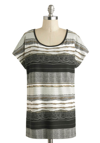 Sedimental Moment Top - Black, Brown, White, Casual, Short Sleeves, Stripes, Print, Scoop, Mid-length, Travel, Jersey, Knit