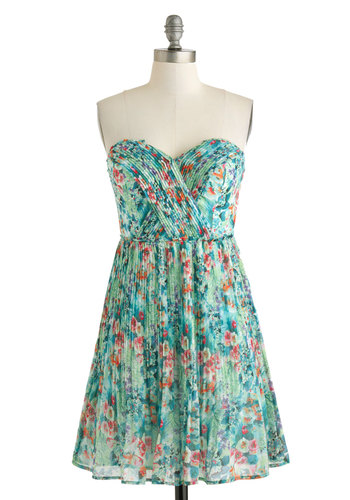 Oceanic Dreaming Dress - Green, Multi, Floral, Pleats, Party, A-line, Spring, Short, Strapless, Sweetheart, Wedding, Bridesmaid, Graduation
