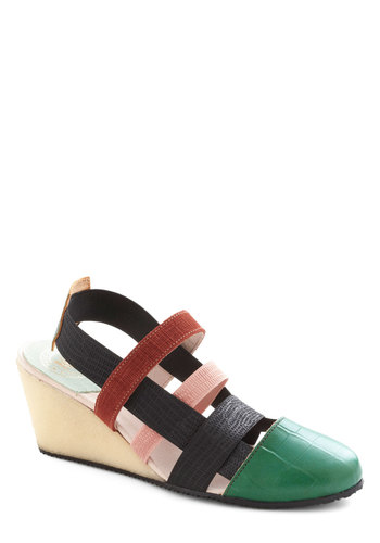 Texture Expert Wedge - Multi, Solid, Colorblocking, Wedge, Casual, Leather, Mid, International Designer