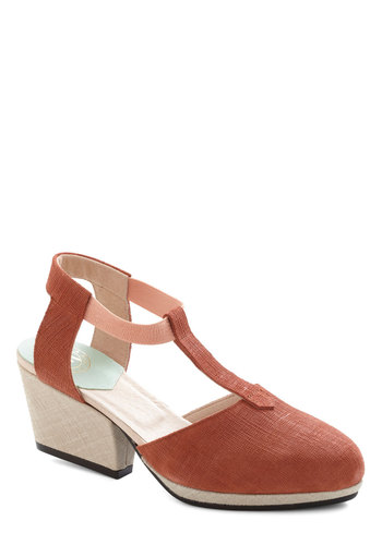 Rose Latte Heel by New Kid - Solid, Mid, Leather, Orange, Tan / Cream, Work, International Designer