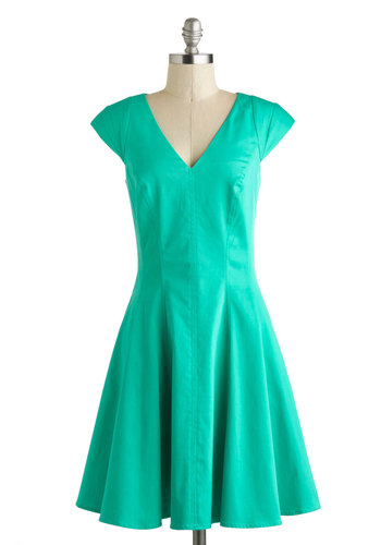 Train Station Reunion Dress - Cotton, Mid-length, Green, Solid, Pockets, Daytime Party, A-line, Cap Sleeves, V Neck