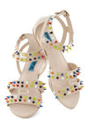 Pick a Color, Any Color Sandal - Cream, Studs, Strappy, Flat, Multi, Casual, Statement, Urban, Summer
