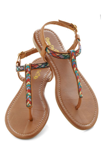 Foothill Fancy Sandal - Brown, Multi, Print, Beach/Resort, Boho, Flat, Casual, Summer, Travel, Chevron