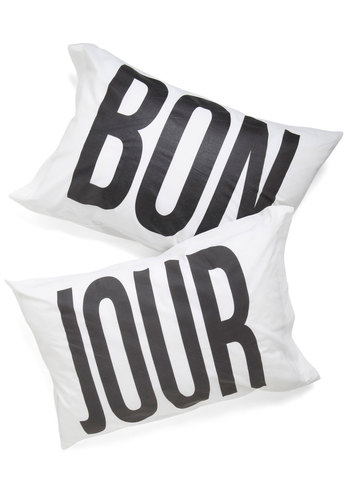In Bonjour Dreams Pillowcase Set - Cotton, White, Black, Dorm Decor, Good, Top Rated