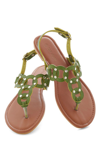 Hoop to It Sandals - Green, Studs, Beach/Resort, Summer, Flat, Solid, Casual, Faux Leather