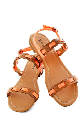 Beach at Sunset Sandal - Coral, Brown, Summer, Flat, Braided, Casual, Beach/Resort, Faux Leather